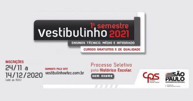 Vestibulinho Etec 1º semestre de 2021